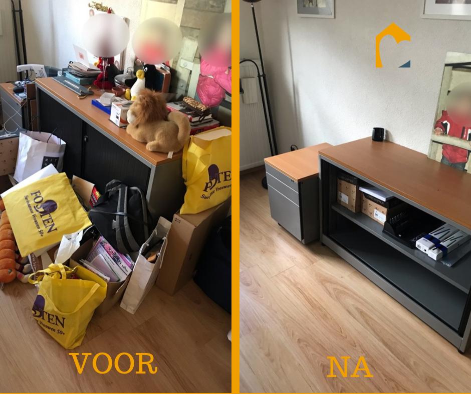 Voor en na hoekje woonkamer