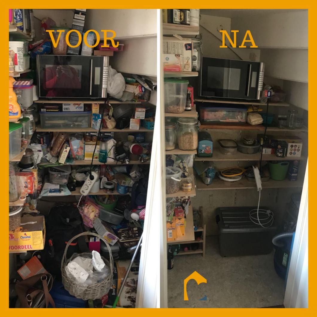 Voor en na kelderkast